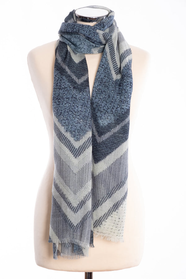 Kapre chevron design scarf, grey, tied view