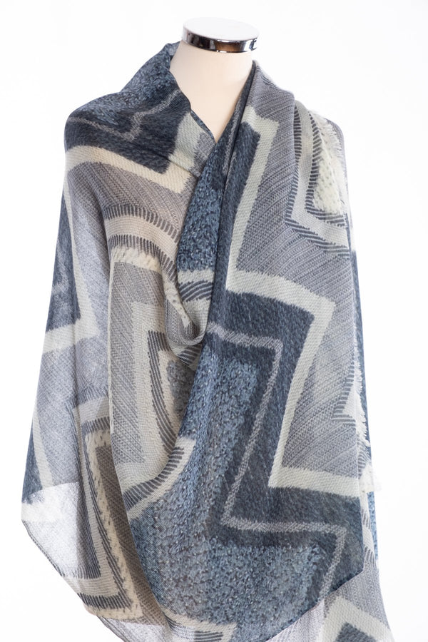 Kapre chevron design scarf, grey, wrap view