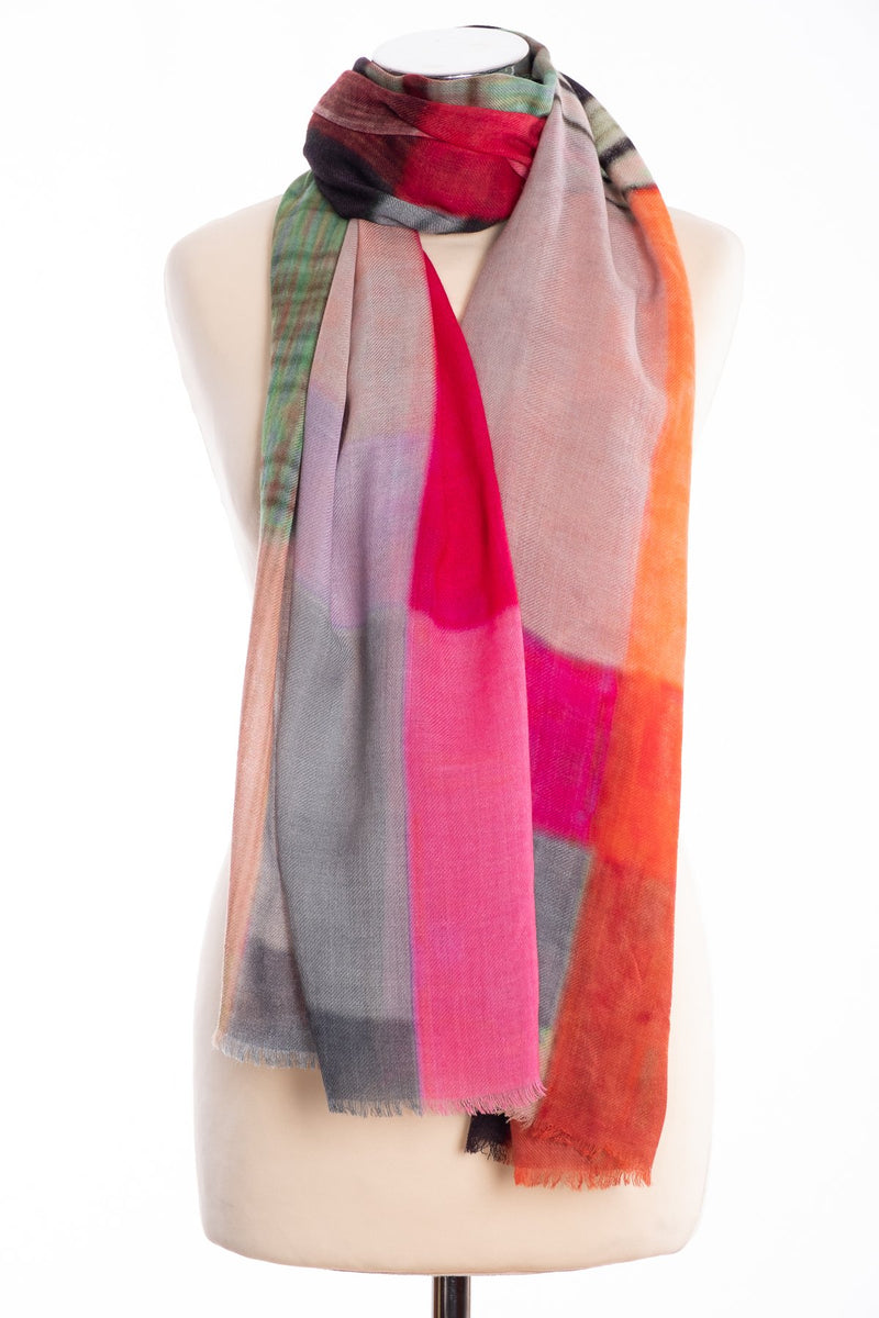 Kapre colour block scarf, pink, tied view