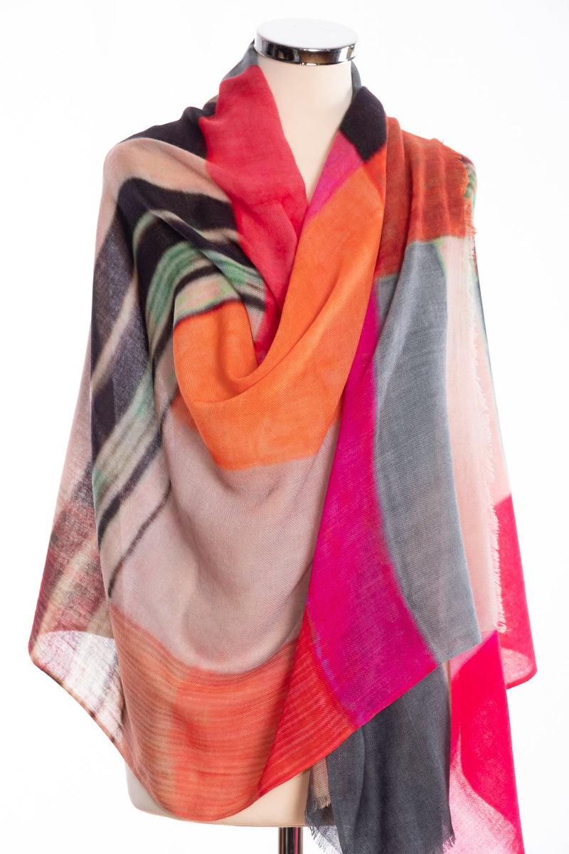 Kapre colour block scarf, pink, wrap view