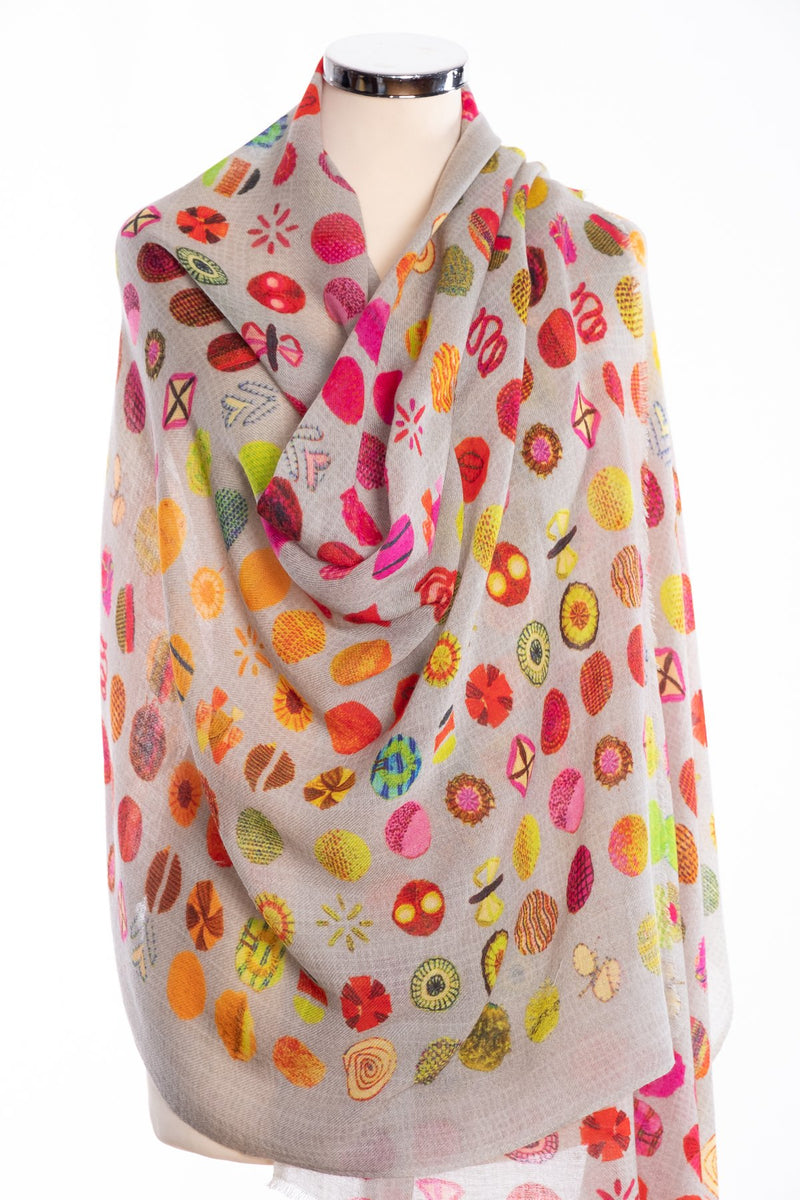 Kapre flower motif scarf, red, wrap view