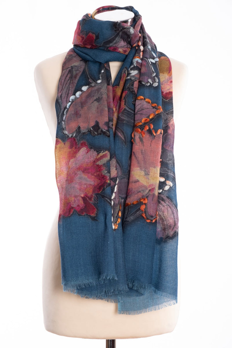 Kapre painted flower scarf, petrol, tied view