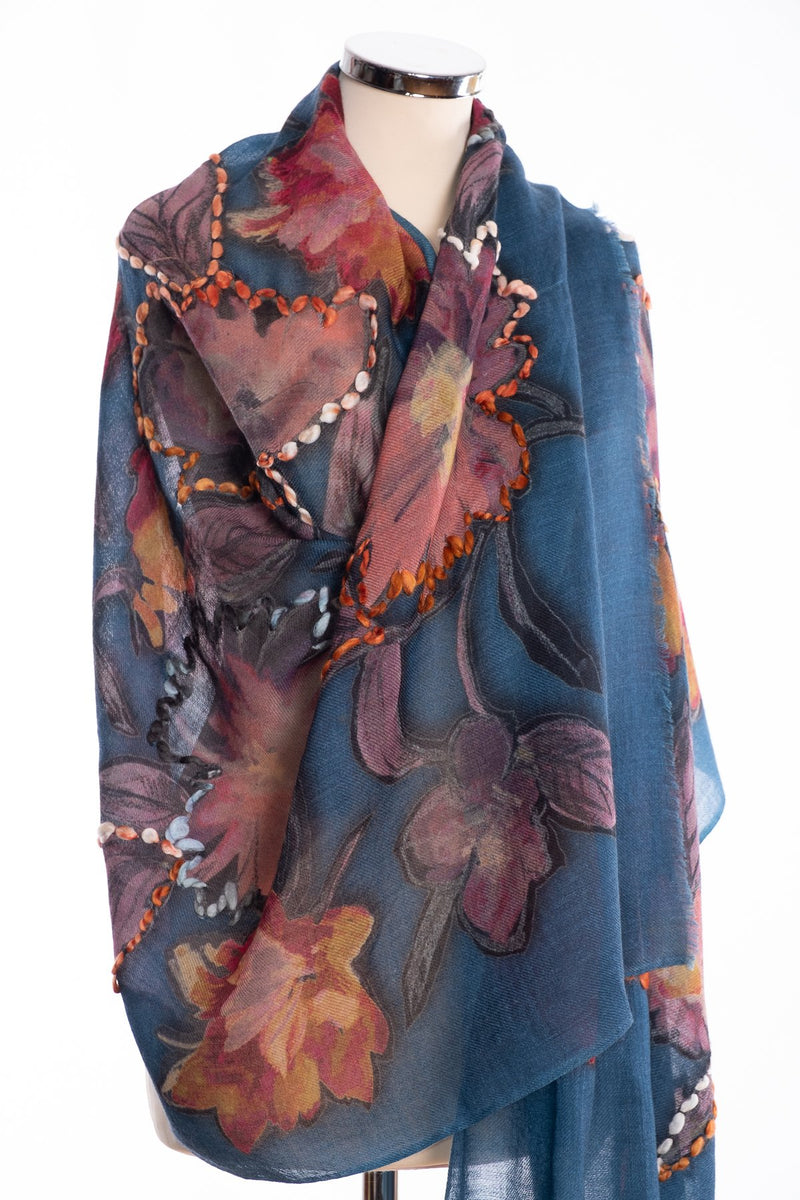 Kapre painted flower scarf, petrol, wrap view