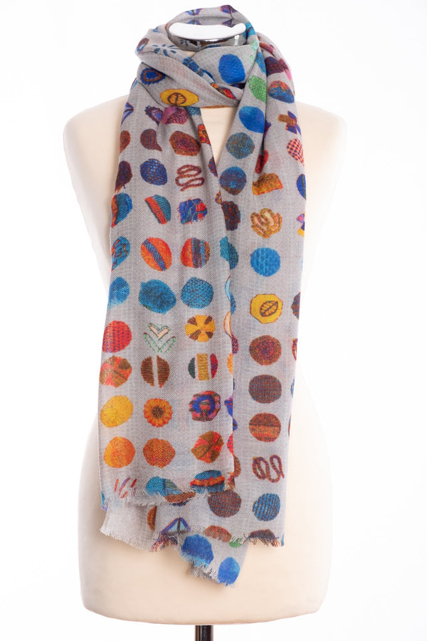 Kapre flower motif scarf, blue, tied view