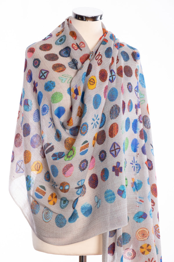 Kapre flower motif scarf, blue, wrap view