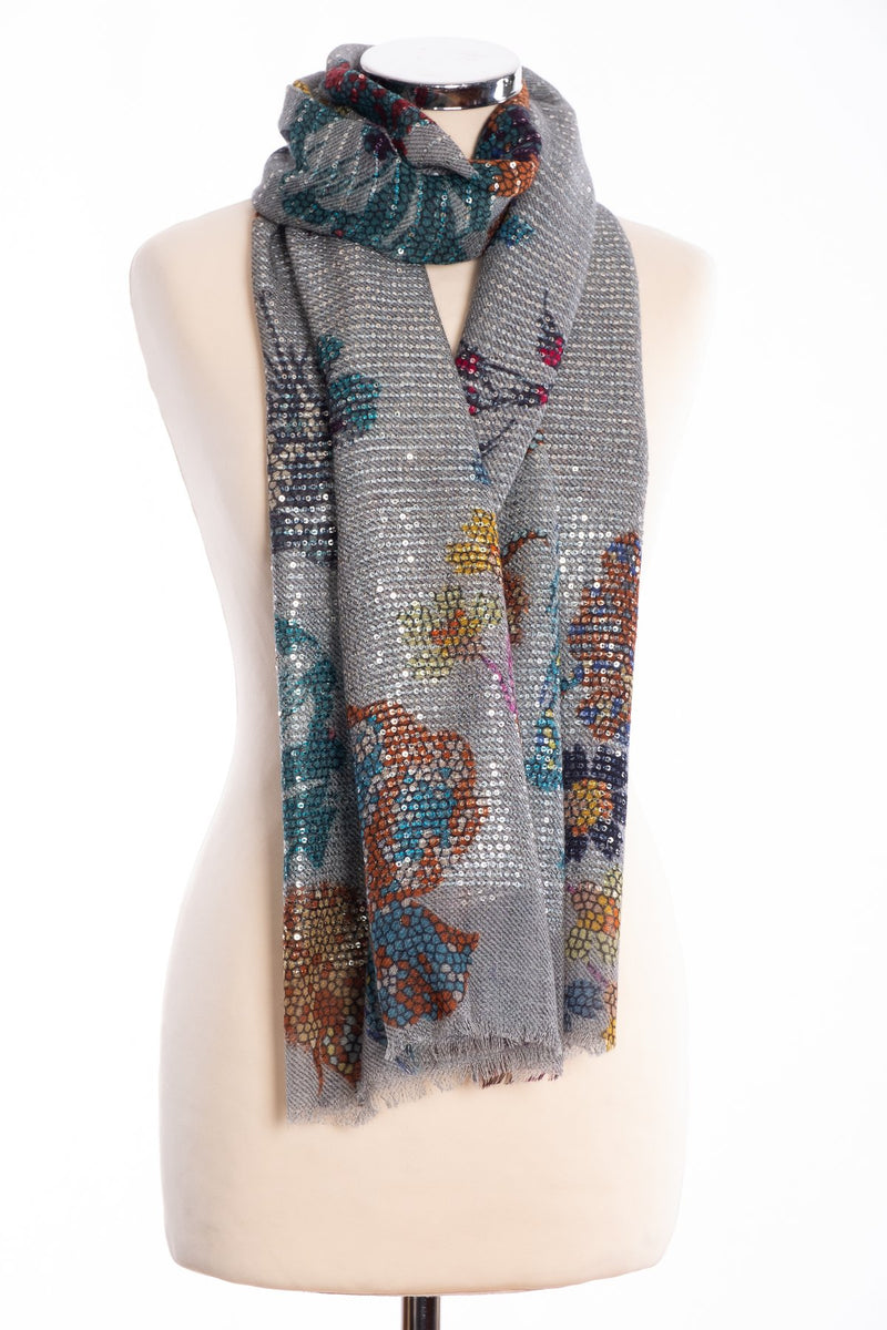 Kapre floral print scarf with sequins, grey, tied view