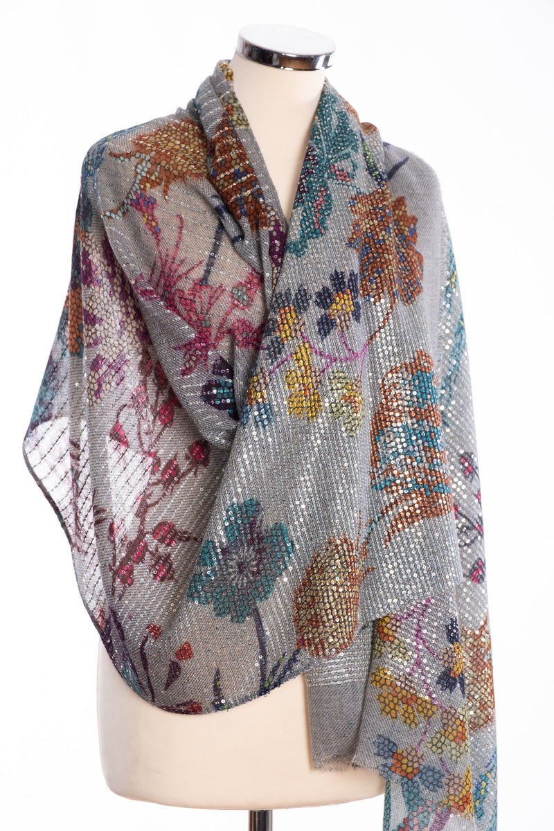 Kapre floral print scarf with sequins, grey, wrap view