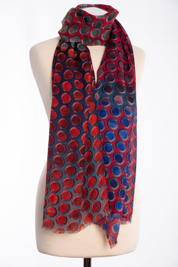 Kapre painted dots design scarf, red, tied view