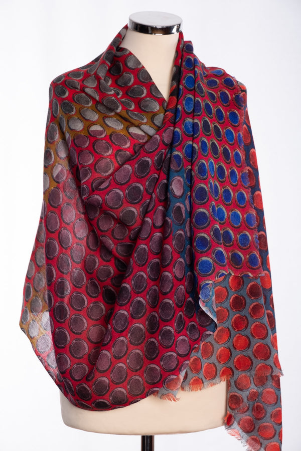 Kapre painted dots design scarf, red, wrap view