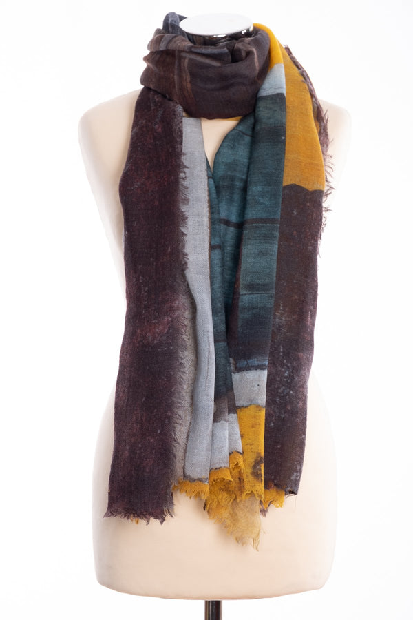 Kapre window design scarf, yellow, tied view