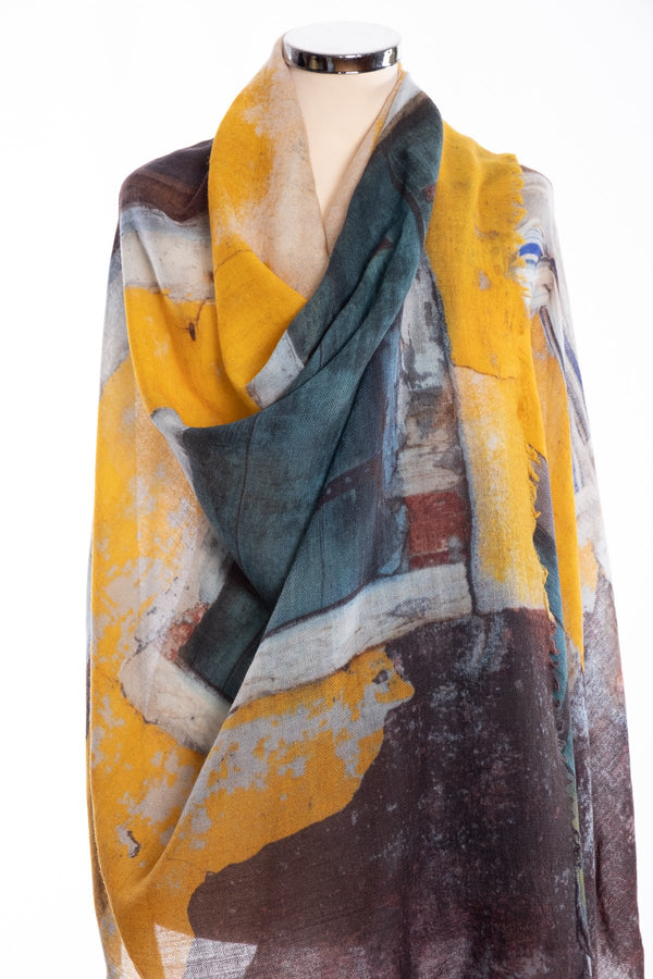 Kapre window design scarf, yellow, wrap view