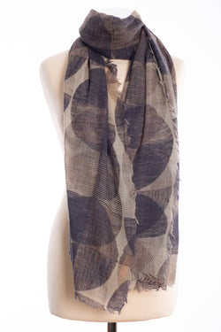 Kapre geometric design scarf, grey, tied view