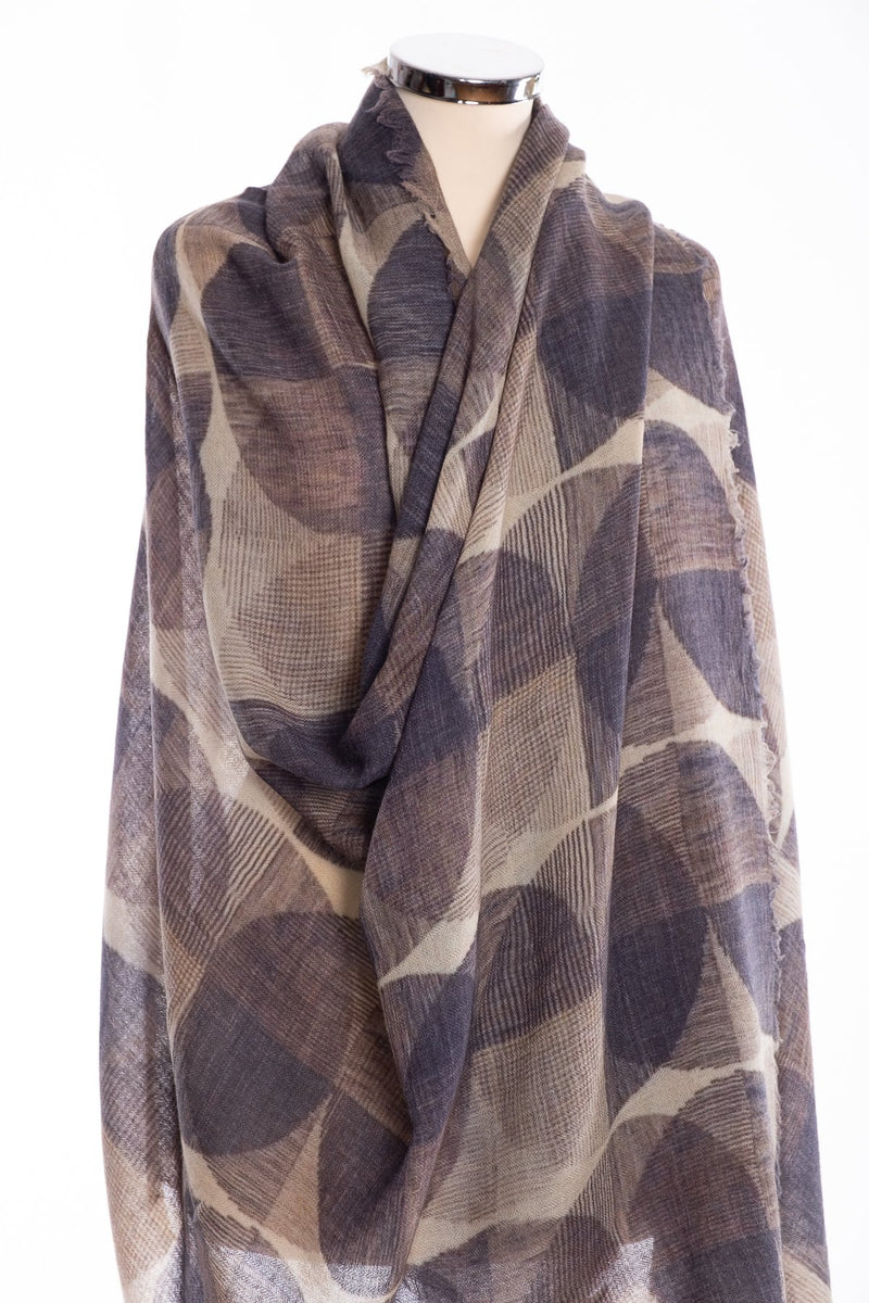 Kapre geometric design scarf, grey, wrap view