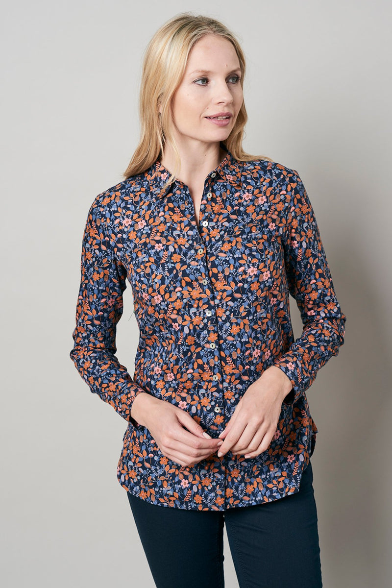 Lily and Me transitional long sleeved shirt, navy, model front view