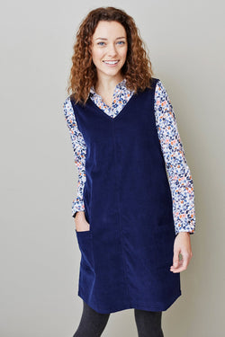 Lily and Me Gatehouse needlecord tunic dress, navy, model front view