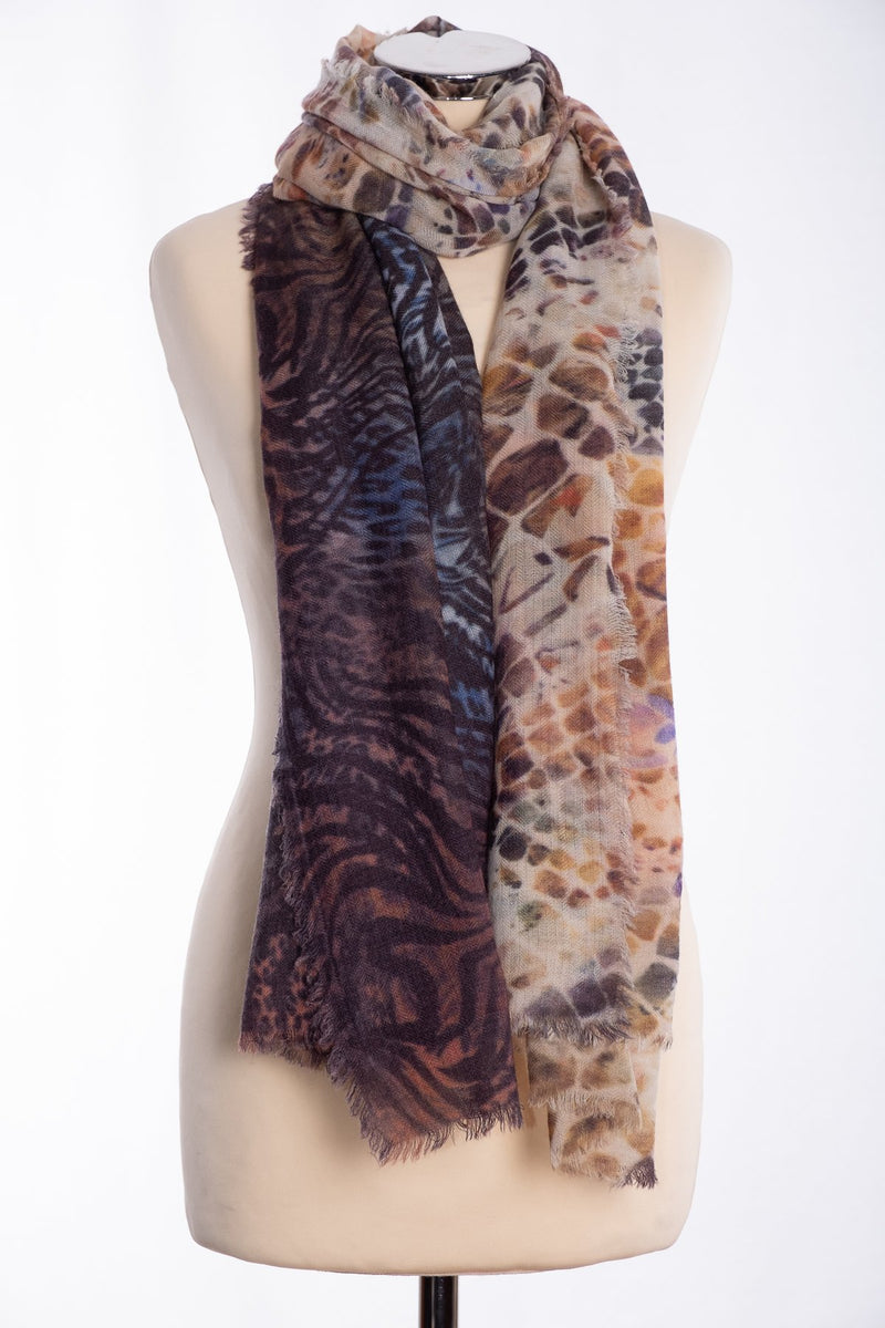 Ombre animal motif scarf, brown, tied view