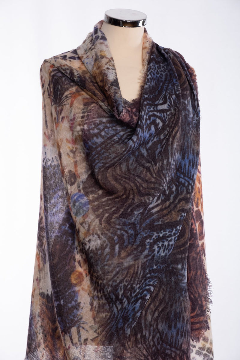 Ombre animal motif scarf, brown, wrap view