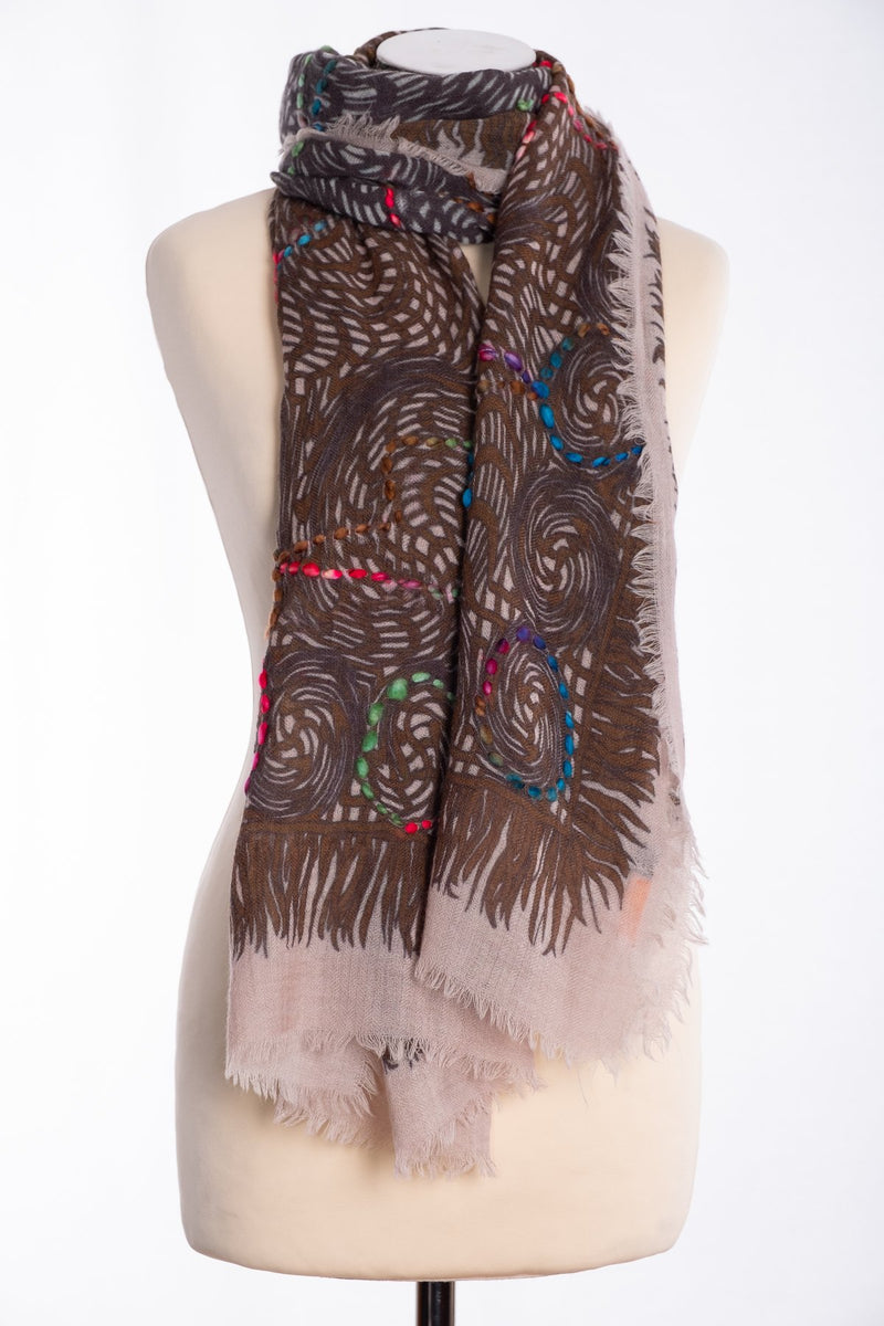 Ombre open weave scarf, brown, tied view