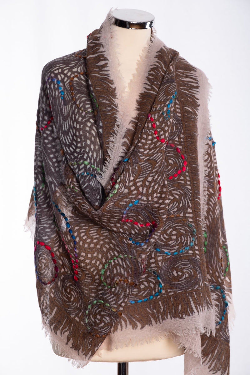 Ombre open weave scarf, brown, wrap view