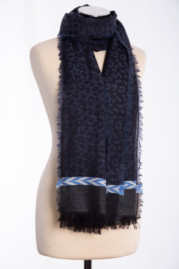 Ombre leopard print scarf, navy, tied view