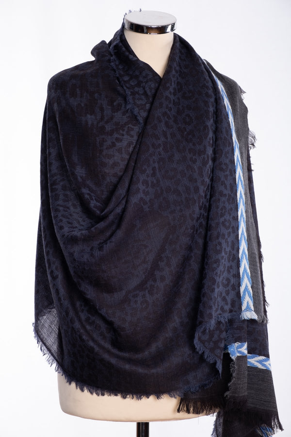 Ombre leopard print scarf, navy, wrap view