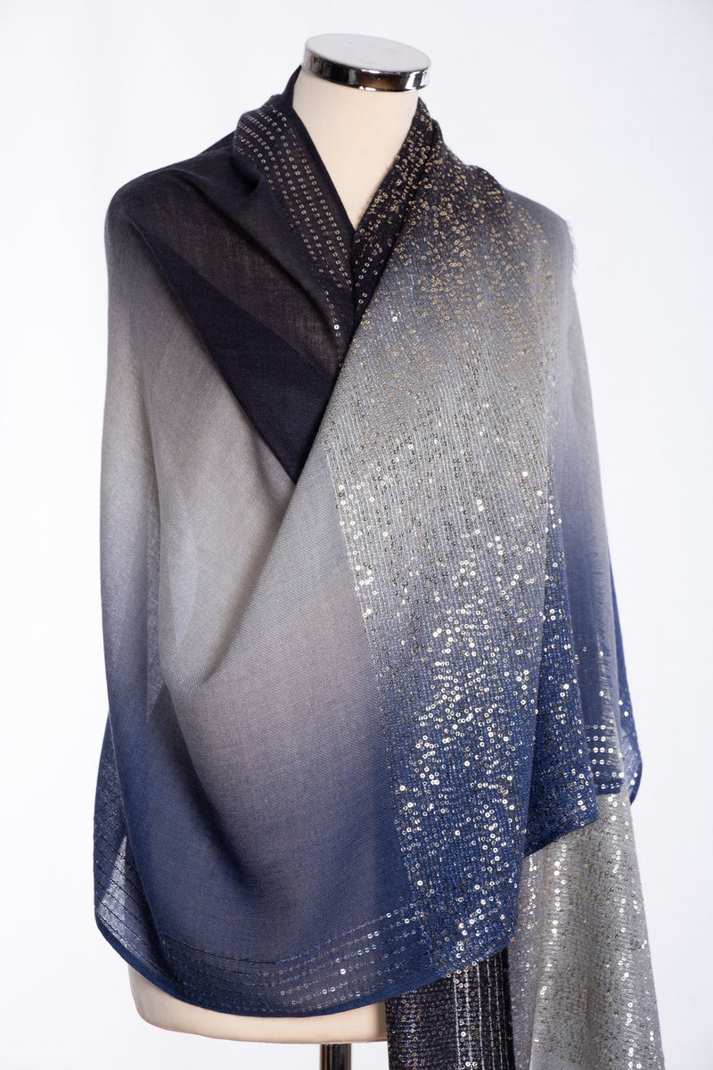 Ombre sequin scarf, navy, wrap view