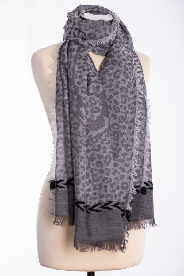 Ombre leopard print scarf, grey, tied view