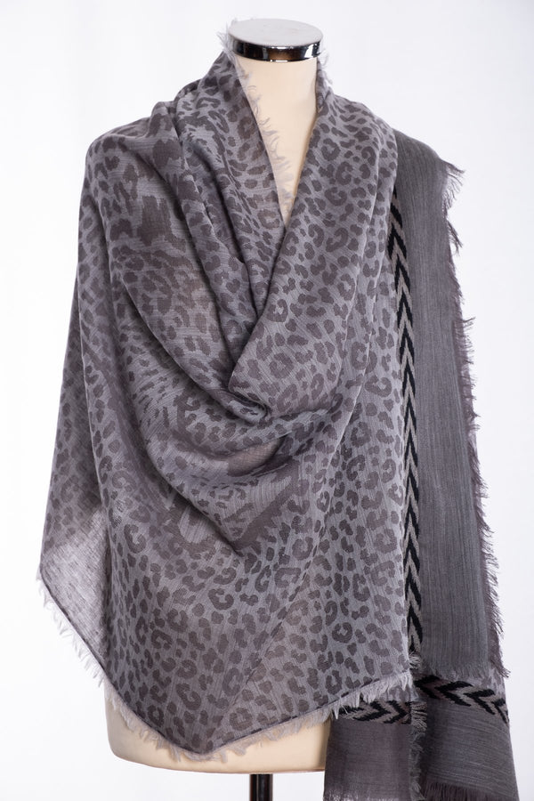 Ombre leopard print scarf, grey, wrap view