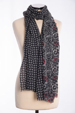 Ombrfe two panel scarf, black, tied view