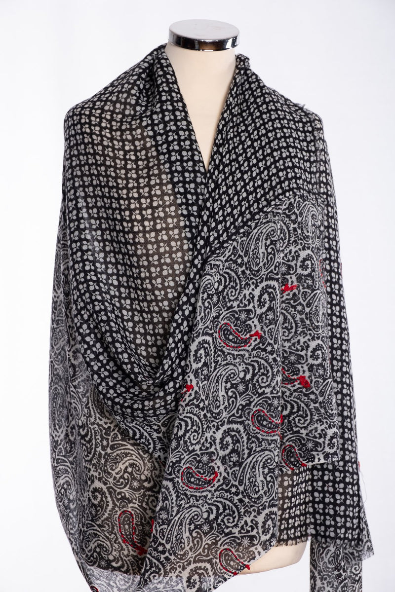 Ombre two panel scarf, black, wrap view