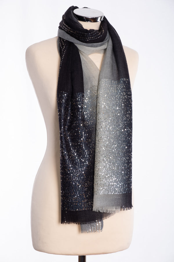 Ombre sequin scarf, black, tied view
