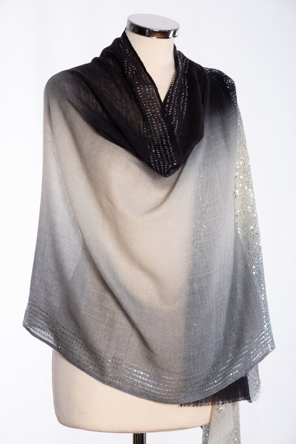 Ombre sequin scarf, black, wrap view
