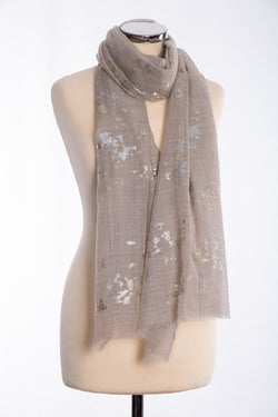Ombre gold and silver foil scarf, beige, tied view