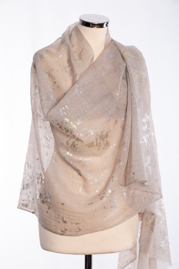 Ombre gold and silver foil scarf, beige, wrap view