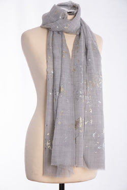 Ombre gold and silver foil scarf, grey, tied view