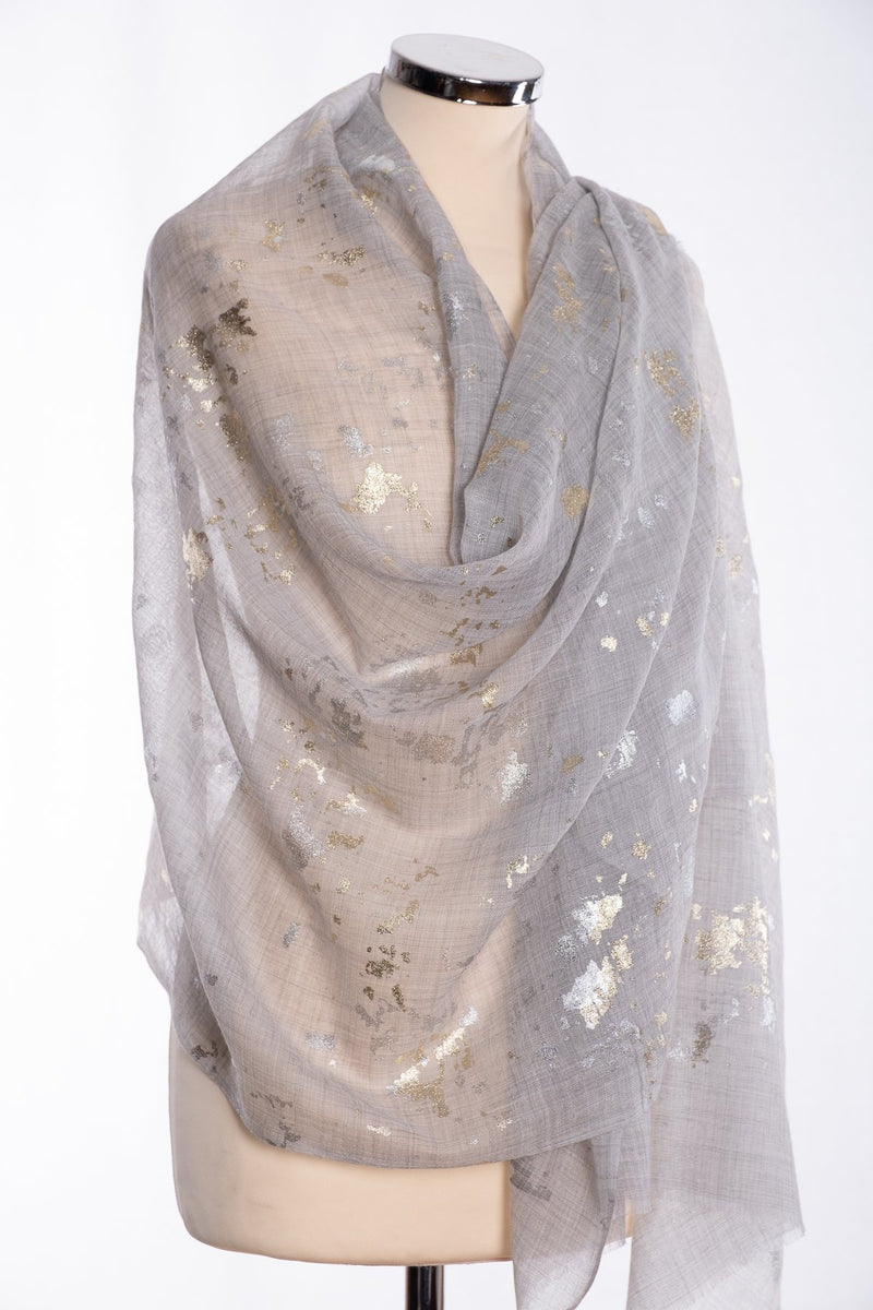 Ombre gold and silver foil scarf, grey, wrap view