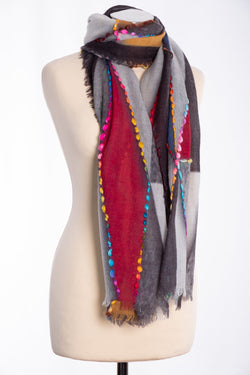 Ombre shaded triangle design scarf, grey, tied view
