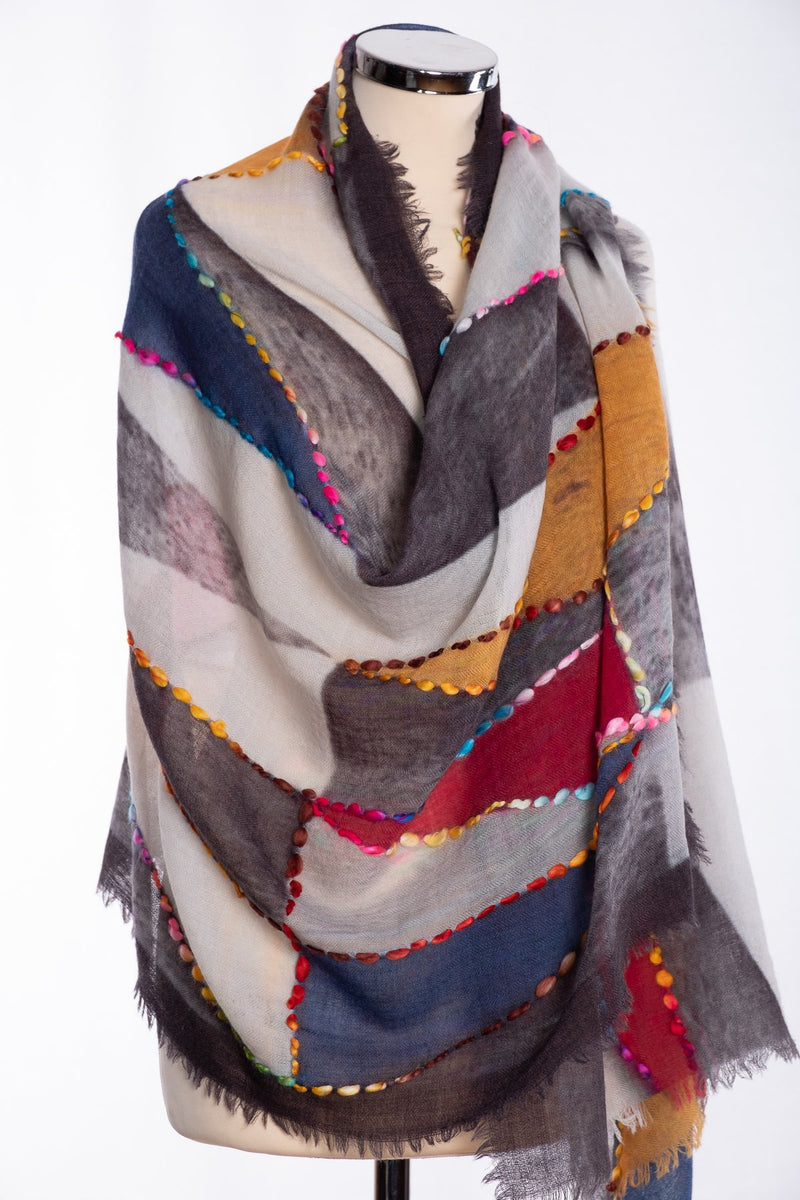 Ombre shaded triangle design scarf, grey, wrap view