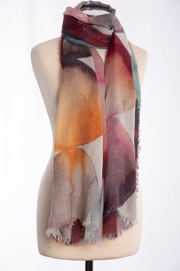 Ombre circles design scarf, wine, tied view