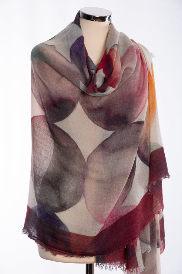 Ombre circles design scarf, wine, wrap view