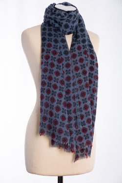 Ombre textured weave scarf, blue, tied view