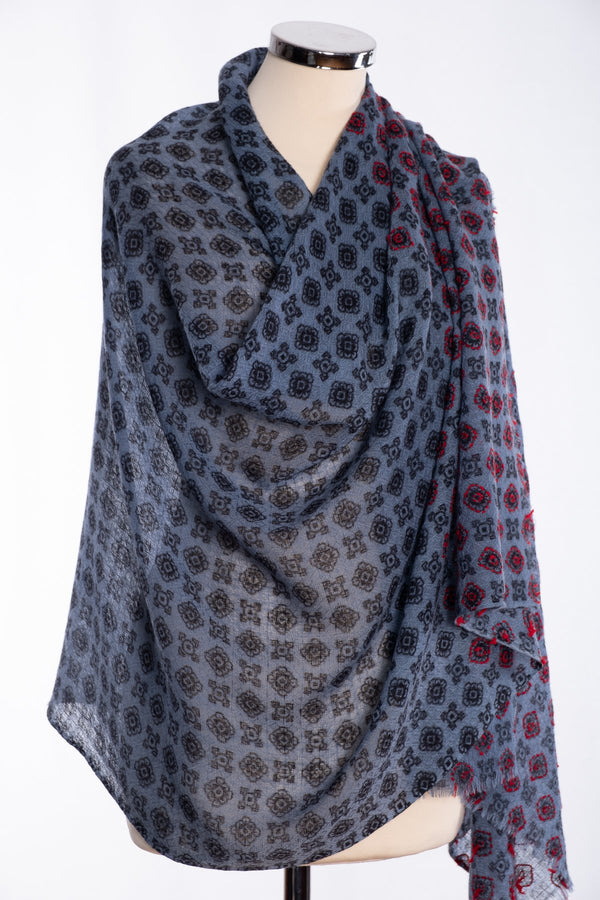Ombre textured weave scarf, blue, wrap view