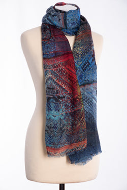 Ombre kaleidoscopic print scarf, multi colour, tied view