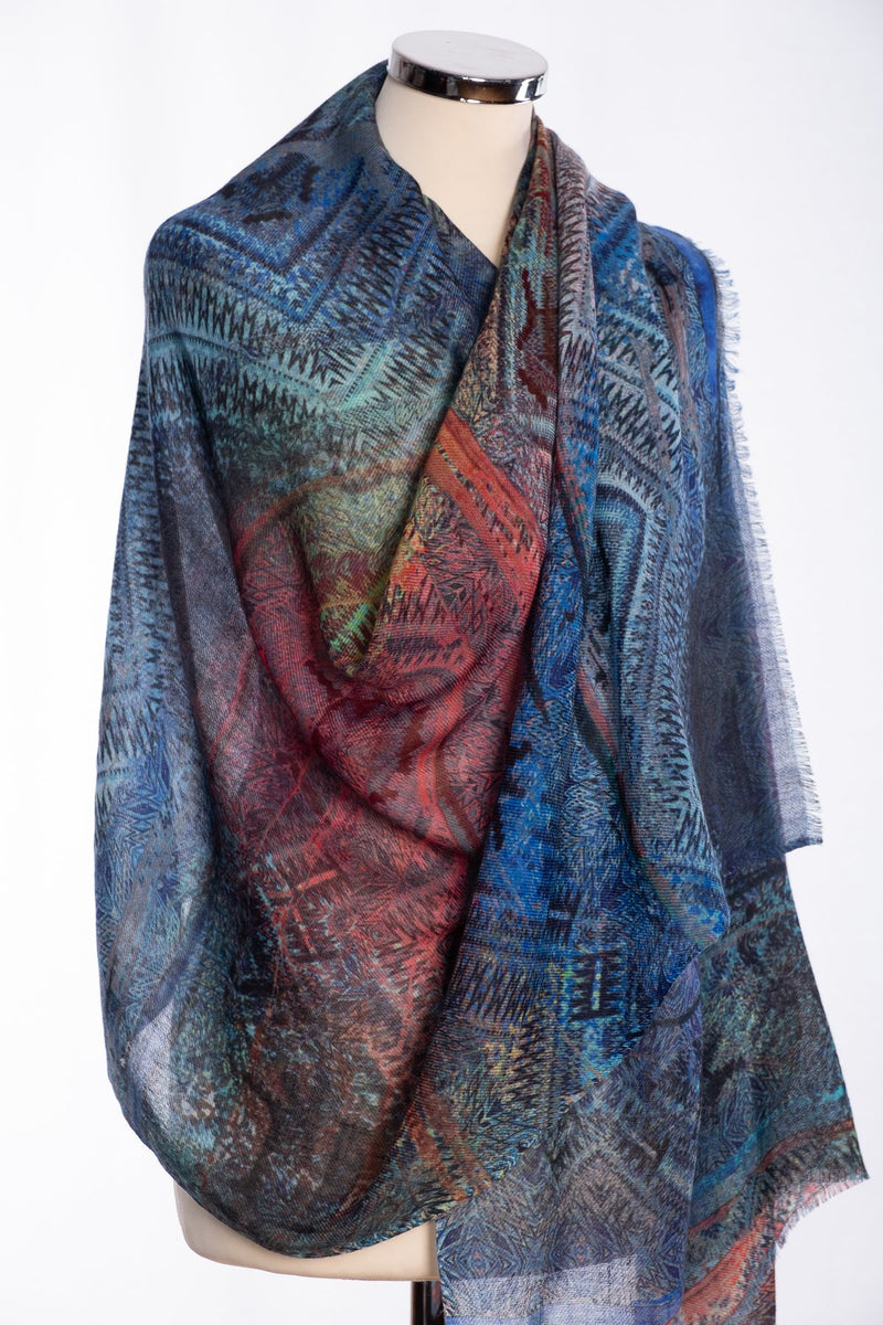 Ombre kaleidoscopic print scarf, multi colour, wrap view