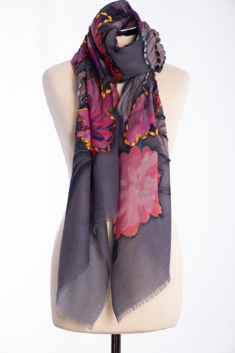 Ombre painted floral scarf, grey, tied view