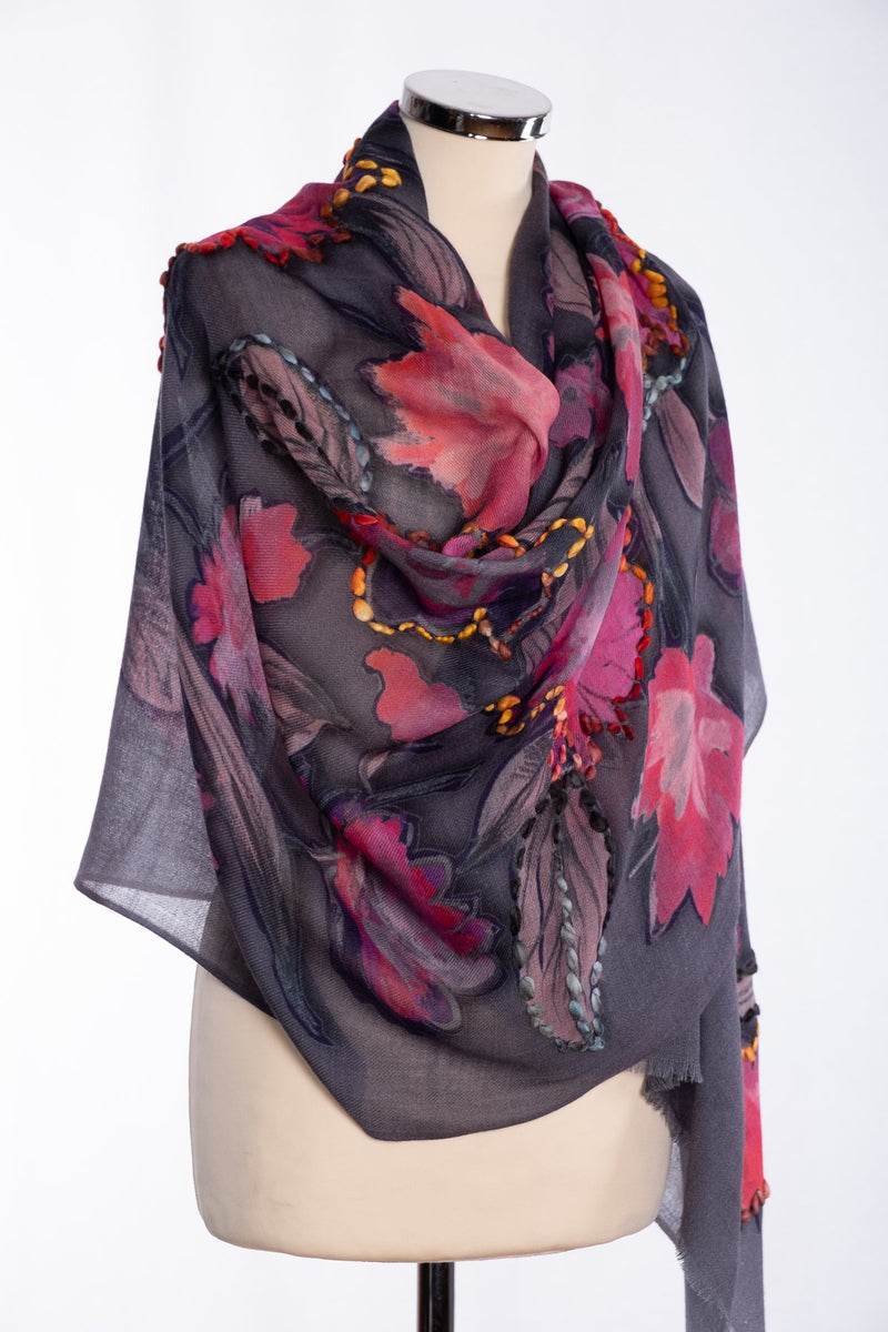 Ombre painted floral scarf, grey, wrap view