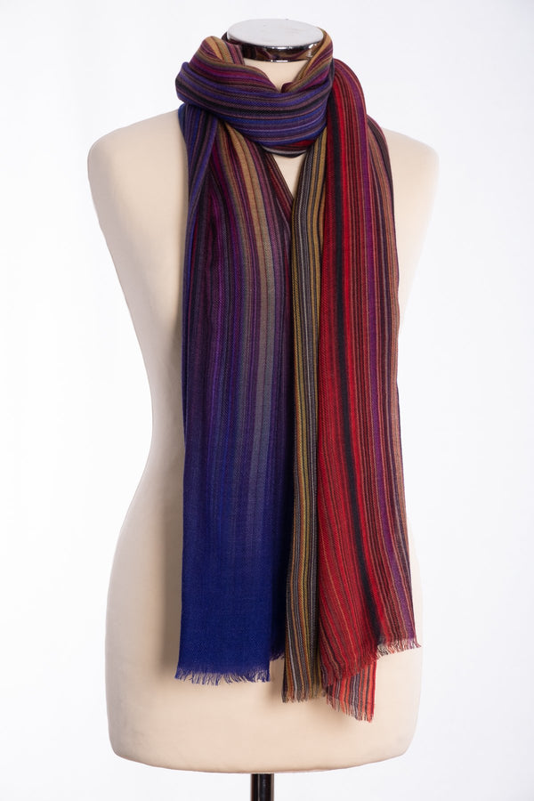 Ombre stripe design scarf, multi colour, tied view