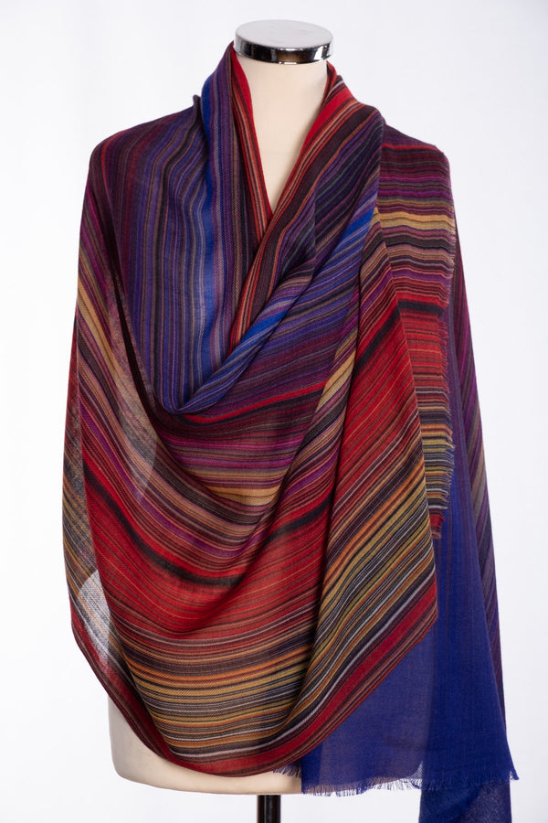Ombre stripe design scarf, multi colour, wrap view