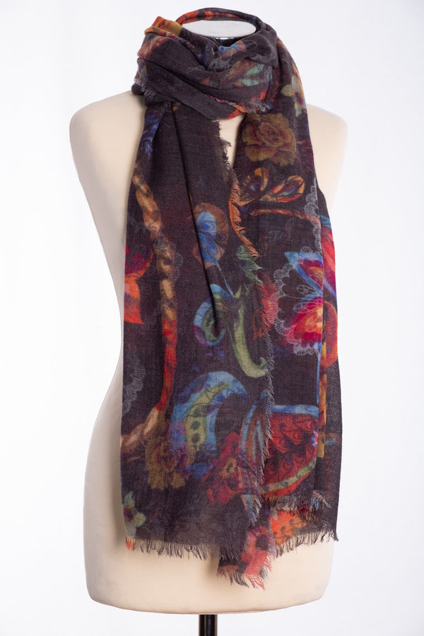 Ombre flower and lace scarf, multi colour, tied view