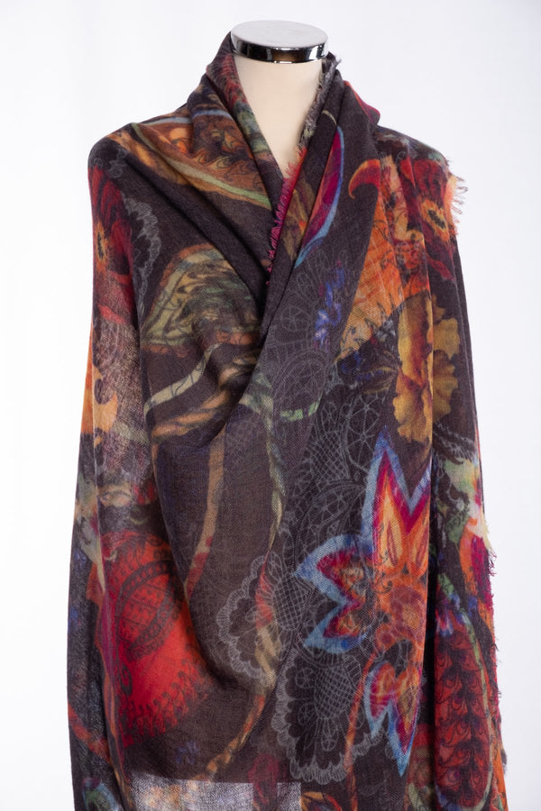 Ombre flower and lace scarf, multi colour, wrap view